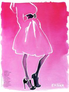 Eduard Erlikh - Fashion Illustration for Madame Figaro, Paris #Armani #Couture #watercolor