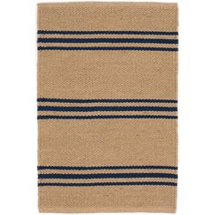 An easy-care, eco-friendly rug in a goes-with-anything, classic stripe? It's true! This durable indoor/outdoor area rug, in a deep beige with narrow navy stripes, is a natural fit for the lake house, the cabin, or home, sweet home!Made of 100% PET, a polyester fiber made from recycled plastic bottles.In order to achieve its rustic charm, this rug has been woven with large-diameter yarns. Consequently, slubs, knots, and other imperfections inherent to the hand-weaving process may be more…