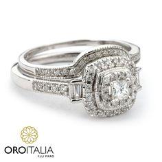 Set de compromiso y matrimonio de diamantes en oro blanco.  Para precios llámanos al 303-6625 (Obarrio) ref. 211528   #oroitalia #joyería #oro #gold #joyeríaspanamá #jewelry #panama #trendy #diamantes #diamonds #anillocompromiso #engagementring