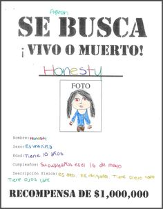 """""""Wanted"""" - Se Busca - poster to describe a classmate in Spanish (edad, nombre, cumpleaños, descripcion fisica). I turned it into a guessing game and my students loved it!"""