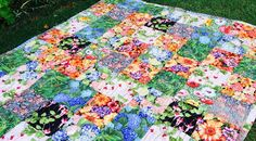 Susie's Garden Lap Quilt - free pattern easy quilt, suitable for charity quilt or gift. good beginners quilt.