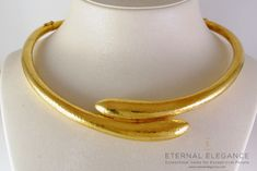 ilias Lalaounis Style Greek Archaic Hammered 22k Yellow Gold Necklace