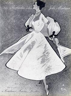 Pierre Balmain 1952 Evening Gown by René Gruau