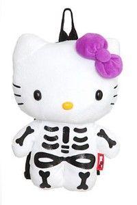 Hello Kitty plush backpack (skeleton) my fave of the HKs Chat Hello Kitty, Hello Kitty Plush, Hello Kitty Bag, Hello Kitty Backpacks, Hello Kitty Halloween, Bad Cats, Bad Kitty, Cute Girl Dresses, Kawaii