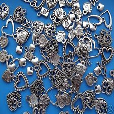 100 Mixed Heart Tibetan Silver Pendant Charm Antique Hearts Charms