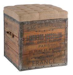 French Country Sac de Moulin Accent Wood Cube Ottoman - Birch and Little usd $285 exc shipping from www.birchandlittle.com
