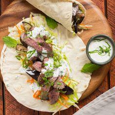 Sumac Lamb Kebabs with Mint Yoghurt Mayonnaise Gourmet Recipes, Healthy Recipes, Healthy Food, Lamb Kebabs, Mayonnaise, Healthy Smoothies, I Foods, Mint, Salad