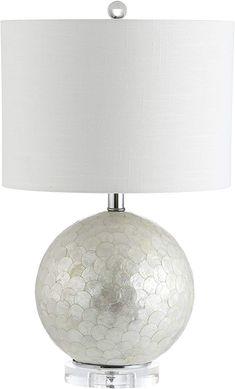Jonathan Y Zuri Capiz Seashell Sphere LED Table Lamp, Pearl/White, Bohemian, Bulb Included Glam Master Bedroom, Bedroom Decor, Bedroom Ideas, Affordable Home Decor, Drum Shade, White Bohemian, Pearl White, Table Lamp, Bulb