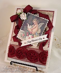 Vintage inspired valentine using Crafty Secrets Cotton Scraps, May Arts Ribbon and JustRite Sentiment.