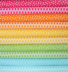 Remix Fabric, Cotton Fabric, Polka Dot fabric by Ann Kelle- Rainbow Fabric Bundle of 10, You Choose the Cut, Free Shipping Available