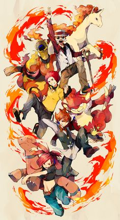 Fire Leaders. Except Flint isn't exactly a gym leader...he's part of the Elite Four...