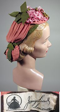 Vintage 1940s Peach Floral and Green Ribbon Hat w