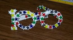 100th day of school glasses with 100 star stickers