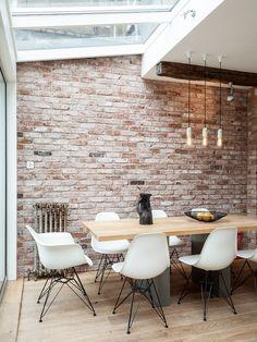whitewash brick Industrial Dining Room Designs London brick wall distressed wood…