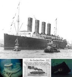 The RMS Lusitania  >Despite warnings of German U-boats in the area, captain William Turner pressed on hoping to avoid their threat and arrive safely in England.  However, the Lusitania wasn't so lucky. It was struck by a German torpedo and consequently sank within 18 minutes of being hit. The 785 foot long, 31,550 ton ship went down along with 1,195 passengers. The wreck now lies in about 295 feet of water and stands as a mass graveyard to all who lost their lives that cold, foggy night.