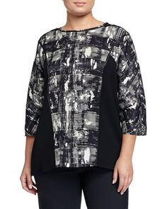 Dolman-Sleeve Printed Blouse, Black Multi, Women\'s by Lafayette 148 New York at Neiman Marcus Last Call.