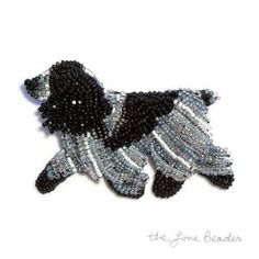 Blue Roan ENGLISH COCKER SPANIEL beaded dog pin/ brooch Etsy bead embroidery jewelry