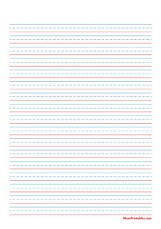 Printable Blue and Red Handwriting Paper (3/8-inch Portrait) for A4 Paper A4 Paper, Graph Paper, Printable Paper, Phonics, Handwriting, Free Printables, Templates, Portrait, Learning