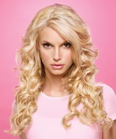 jessica simpson long curly blonde hair