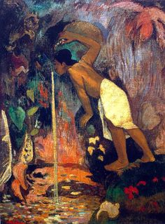 Mysterious Water by Paul Gauguin in oil on canvas, done in Now in a private collection. Find a fine art print of this Paul Gauguin painting. Paul Gauguin, Henri Matisse, Gauguin Tahiti, Impressionist Artists, Arte Popular, Oil Painting Reproductions, Claude Monet, French Art, Pablo Picasso