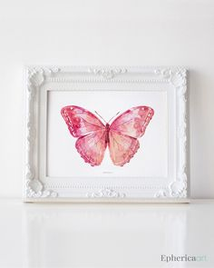 Pink Butterfly art print, Girly wall art, Bedroom decor, Nursery girl decor PRINTABLE Butterfly wall art, Butterfly decor, Butterfly poster by EphericaArt on Etsy https://www.etsy.com/listing/202386034/pink-butterfly-art-print-girly-wall-art