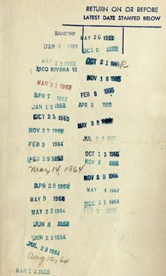 i have fond memories of watching the neighborhood librarians stamping the date due cards. I even got to help stamp :)