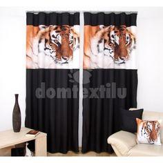 čierne závesy do obývačky s hlavou tigra - domtextilu. Foto 3d, Bright, Curtains, Home Decor, Insulated Curtains, Homemade Home Decor, Blinds, Draping
