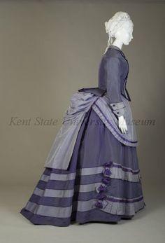Purple day dress  American, ca. 1870  Silk taffeta  Collection of the Kent State University Museum KSUM 1983.1.118a-d