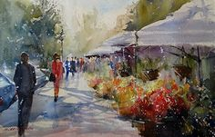 "Only suggesting flowers and people...... ""Valencia Flower Market"" by Sandy Strohschein Watercolor ~ 15"" x 22"""