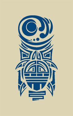 Turtle Totem Pole Tiki Ethnic Tattoo Tortoise Polynesian Wall Art Decor Sticker Decal Laptop Window Sticker Vinyl