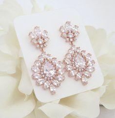 Rose Gold Bridal earrings Crystal Wedding by TheExquisiteBride Gold Bridal Earrings, Bridal Bracelet, Rose Gold Earrings, Bridal Necklace, Bridesmaid Earrings, Wedding Earrings, Crystal Earrings, Wedding Jewelry, Piercing