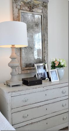 INSPIRATION: A beautiful Swedish chest with a  painted antique mirror.
