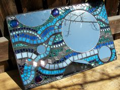 mirror, stained glass, beads, tiles, glass blobs on wedi.