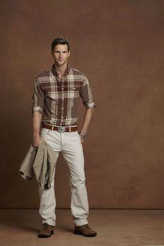 Brown plaid shirt. Good for fall.