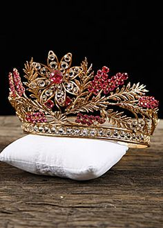 French Antique Repousse Gilt Brass Tiara with Pink and Clear Cut Glass Stones