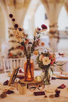 Wedding Table Flowers, Wedding Table Settings, Wedding Table Centerpieces, Floral Wedding, Wedding Colors, Fall Wedding Decorations, Flowers On Table, Whimsical Wedding Decor, Colourful Wedding Flowers