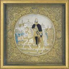 AN EMBROIDERED PICTURE Turkish Art, 19th Century, Ottoman, Textiles, Costumes, Embroidery, Frame, Painting, Home Decor
