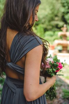Gray Wrap Bridesmaids Dress | photography by spindlephotograph...