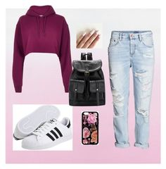 """""""hipster style"""" by bellafawxo on Polyvore featuring H&M, River Island, adidas Originals, Hipster, adidas, boyfriendjeans and rippedjeans"""