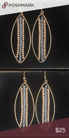 "Fabulous labradorite  crystal earring These are hot !!!!   2"" pierced  labradorite    Crystal earrings   Beautiful  NWOT private label Jewelry Earrings"