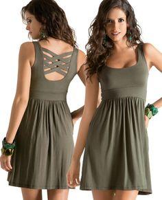 Vestido Tania 9060 Vestido Casual en micro Rayón, escote redondo plisado en cintura, espalda con cintas cruzadas. CH, MED, GDE, XG Precio $ 339.00 no incluye envio