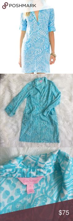 Lilly Pulitzer Sanibel tunic Dress SZ M Lilly Pulitzer Sanibel tunic Dress SZ M in shorely blue sea cups print. Worn once. Tunic dress with pockets. 100% cotton. Lilly Pulitzer Dresses