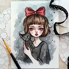 A miniature portrait of Kiki. Check out my Etsy store to have time to take this cute watercolor post Watercolor Postcard, Watercolor Paintings, Arte Disney, Disney Art, Kawaii Drawings, Cute Drawings, Miniature Portraits, Beautiful Drawings, Art Sketchbook