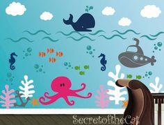Nursery Decal - Ocean World Vinyl decal - Children Decal - Wall Sticker- Wall Vinyl Decal - Sea Decal. via Etsy.