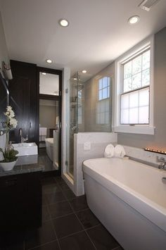 Courtland Street Residence- Beautiful contemporary style master bathroom. *Inspired Interiors*