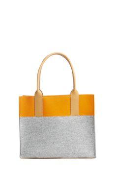 Jaunt Petite Color block Felt leather Granite/Safety Tote