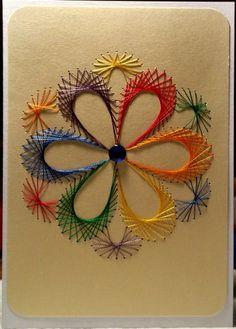Fadengrafik-Doppelkarte Regenbogen Blume Gay 11 von Rene´s Fadengrafiken auf DaWanda.com