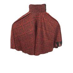 Mogulinterior Boho Red Vintage Saree Silky Maxi Skirt Flowy Palazzo Sari Harem Pants 2