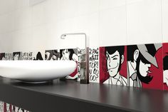 Lupin the 3rd by Del Conca. Ceramic wall art based on Japanese manga