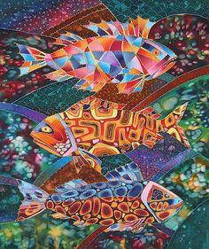 River Fish by Igor Platov Define Art, Fish Quilt, Watercolor Fish, Barn Art, Art Textile, Butterfly Painting, Silk Art, Color Pencil Art, Fish Design
